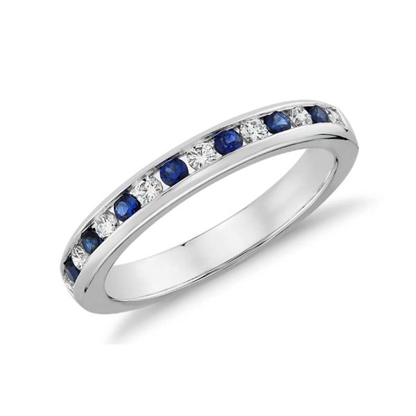 Blue sapphire wedding band