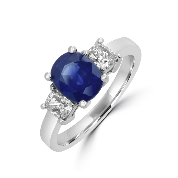Trilogy sapphire engagement ring