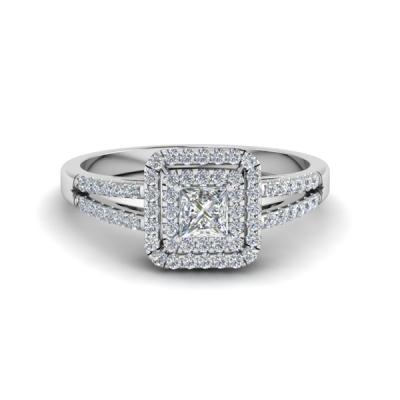 Double halo princess cut diamond ring