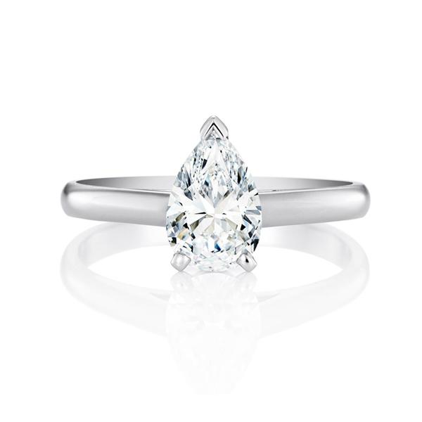Pear cut solitaire diamond ring