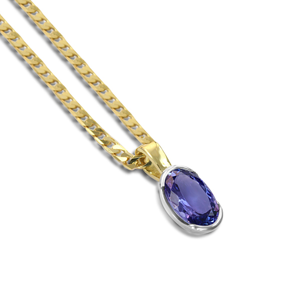 tanzanite necklace yellow gold