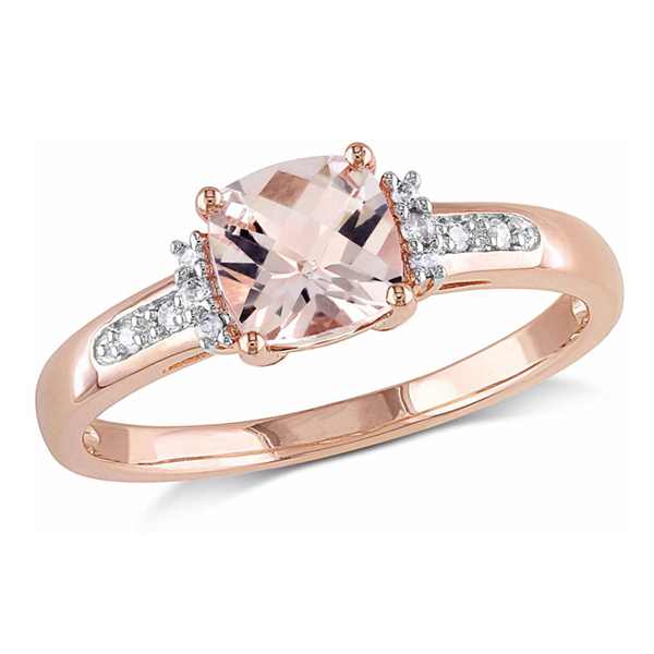 Cushion morganite engagement ring