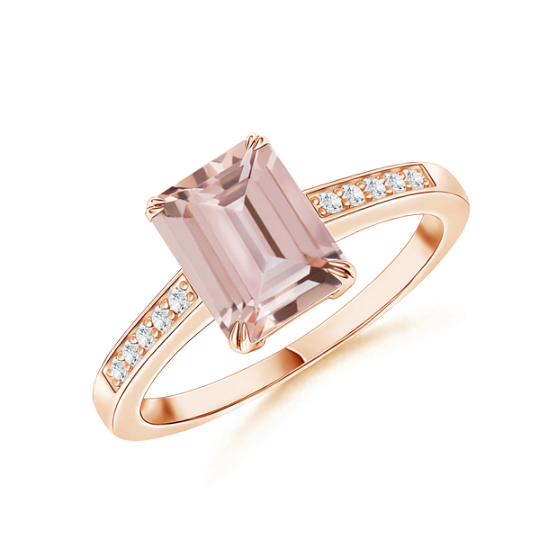 Emerald cut morganite ring