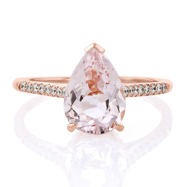 Morganite pear engagement ring
