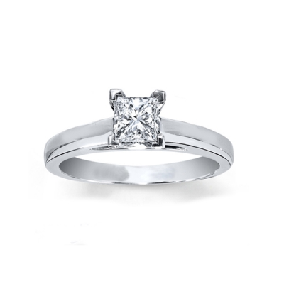 Solitaire square diamond ring
