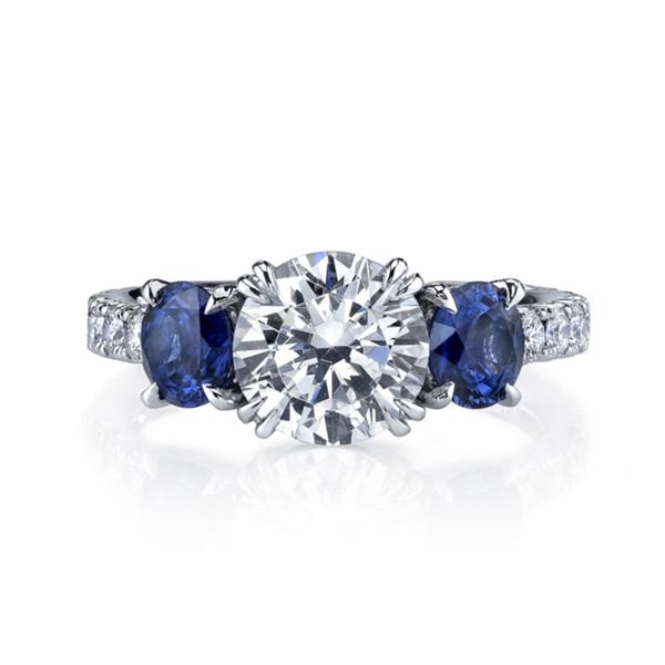 Round diamond sapphire ring