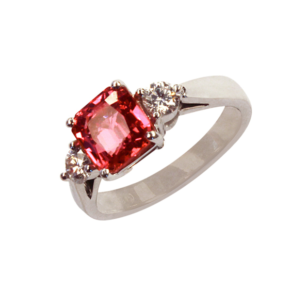 pink red sapphire diamond ring