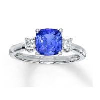 Diamond and tanzanite engagement rings