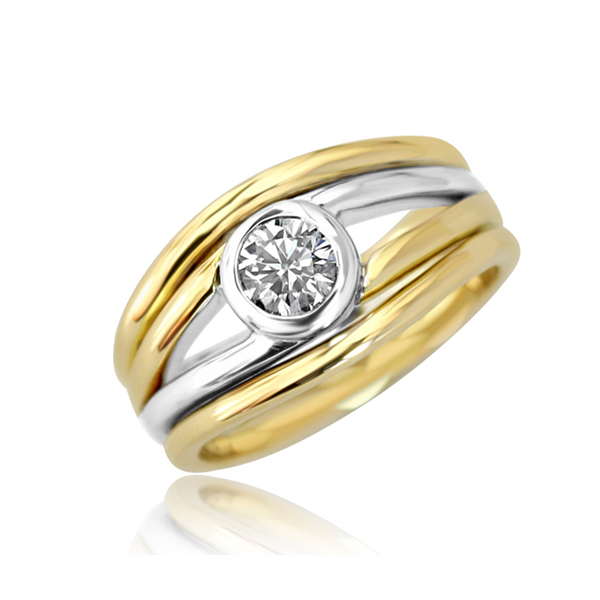 Two tone gold and diamond ring