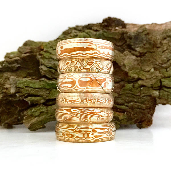 Stack of mokume rings