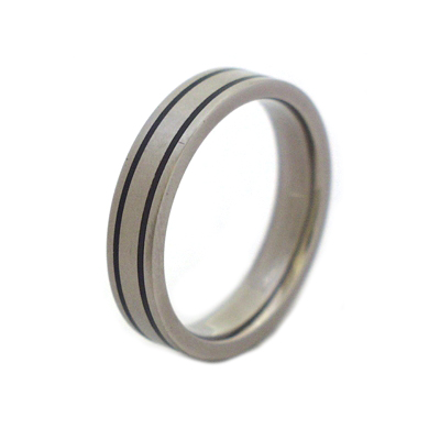 mens black titanium wedding band