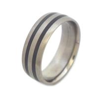 Men's black titanium wedding rings
