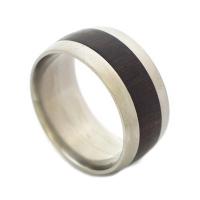 Black wood titanium ring