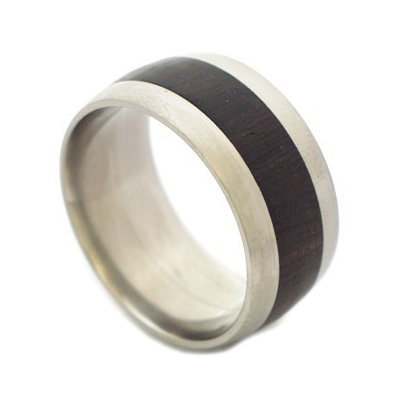 Black wood titanium ring