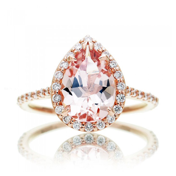 Pear cut morganite ring