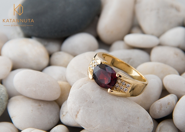 Almandine garnet ring January's birthstone