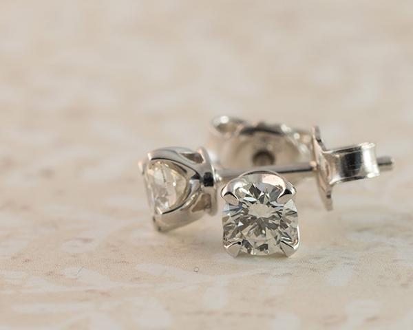 Man-made diamond earrings
