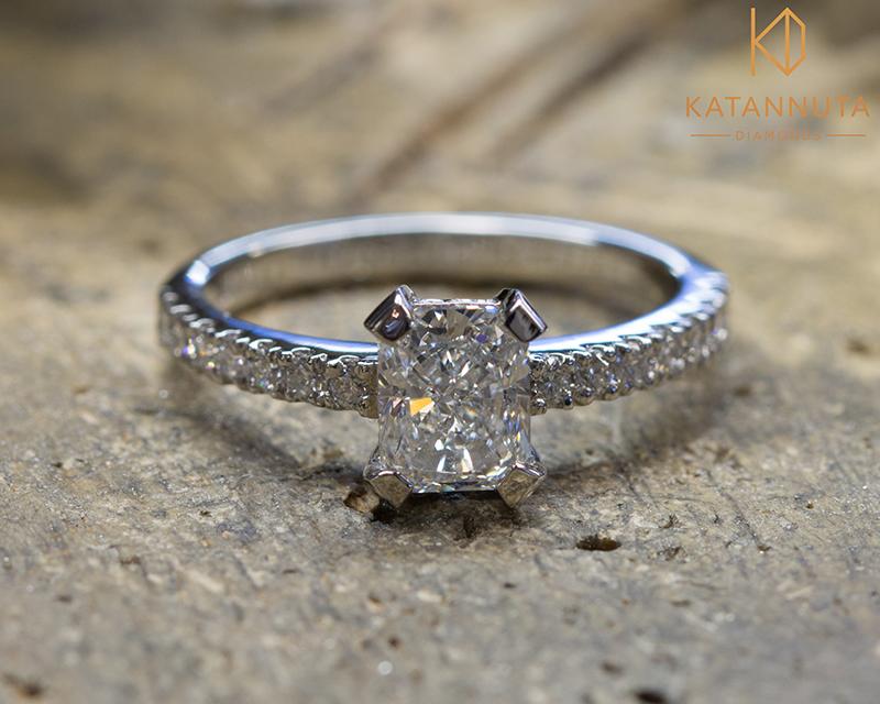 Radiant diamond engagement ring