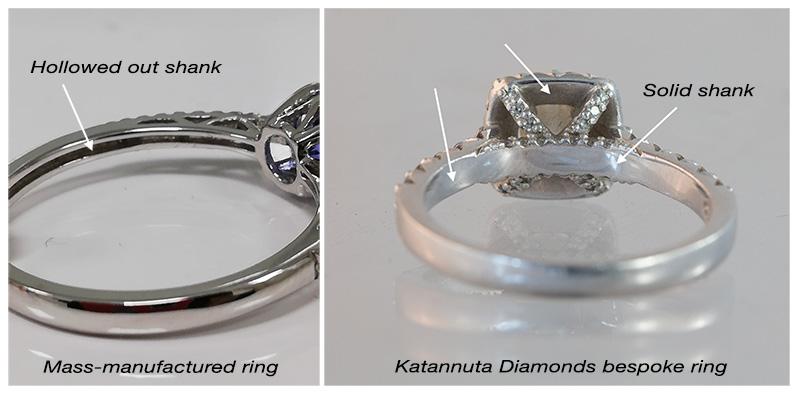 Mass-produced vs bespoke ring