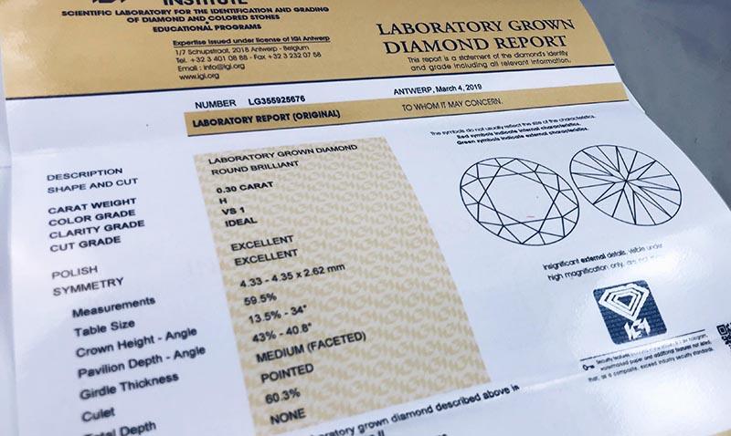 Man-made diamond certificate