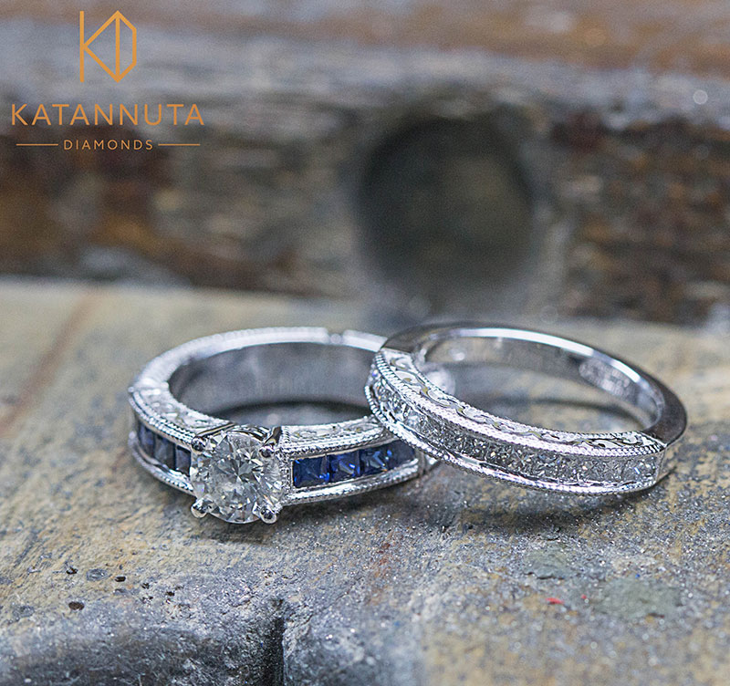 18ct white gold engagement ring and wedding ring