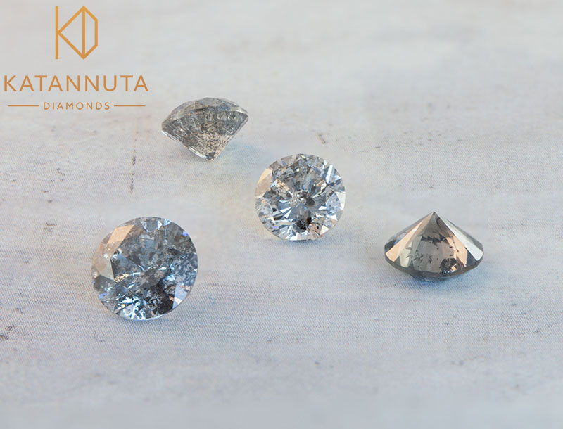 Parts of a salt and pepper diamond