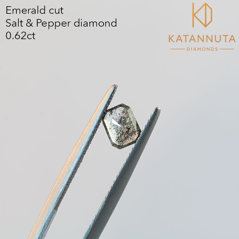 Rectangular emerald cut salt and pepper diamond South Africa