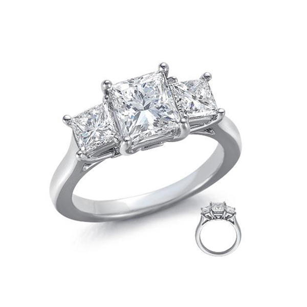 trilogy ring princess cut diamonds