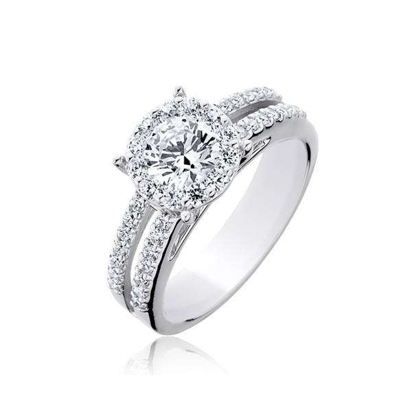 split shank round diamond halo