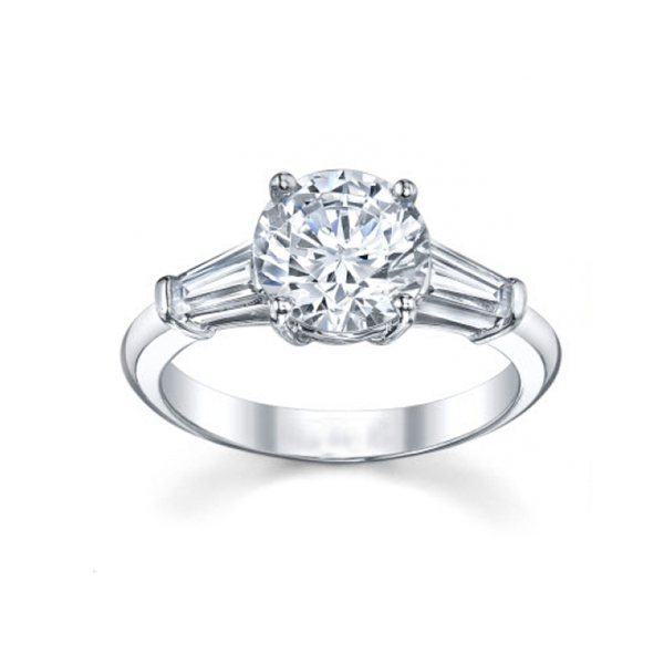 round diamond and tapered baguettes diamond ring