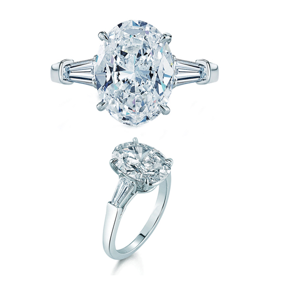 Oval and baguette diamond ring