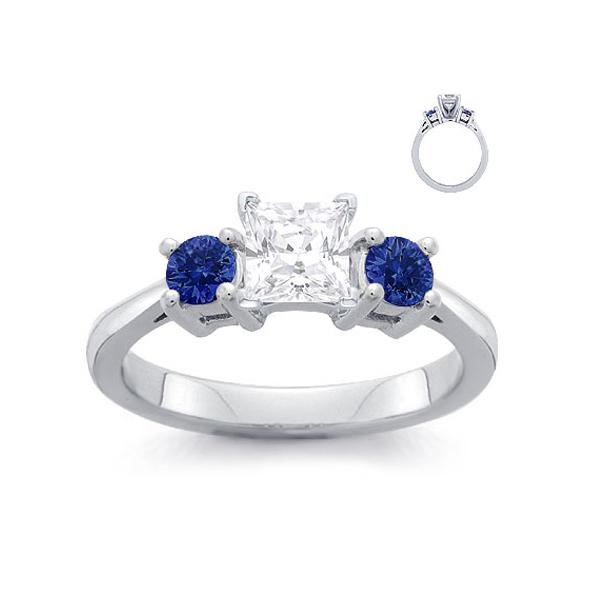 square diamond sapphire ring