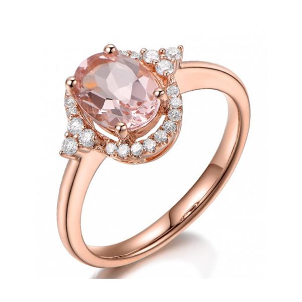 Delicate rose gold morganite ring