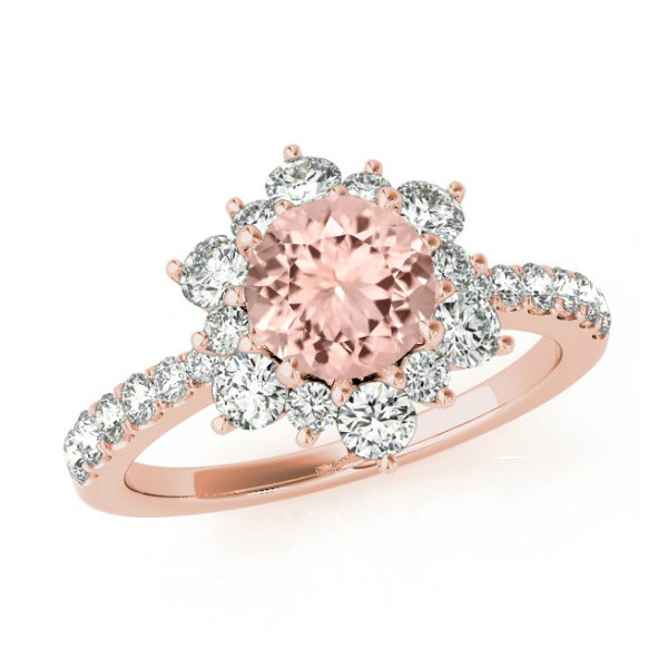 Snowflake morganite diamond ring