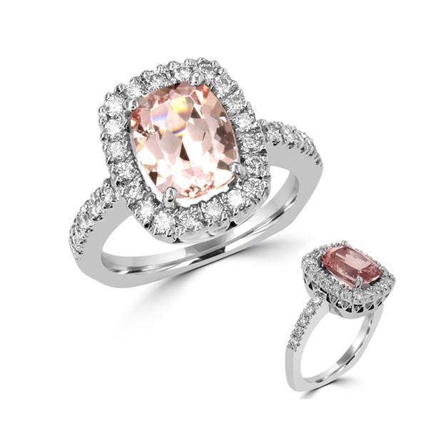 Morganite platinum ring