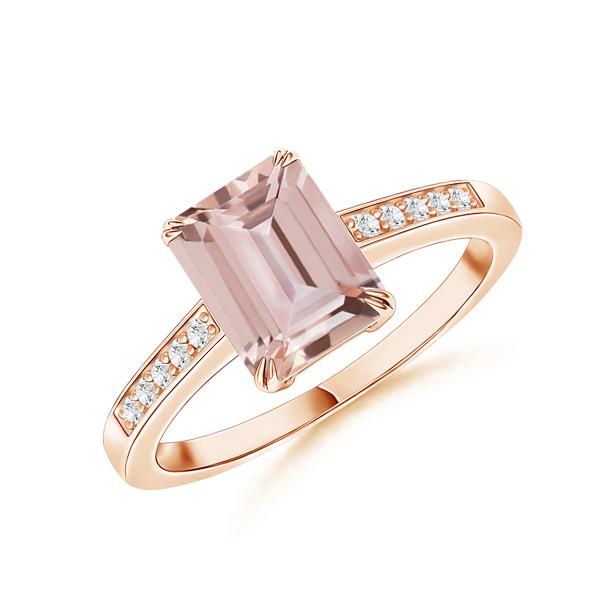 Emerald cut morganite ring
