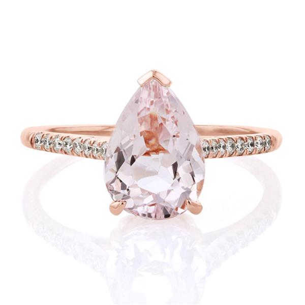 Morganite pear engagement ring