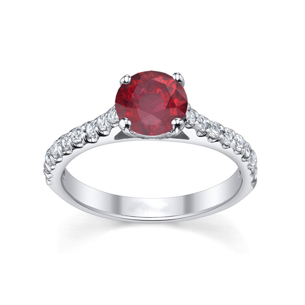 round ruby engagement ring