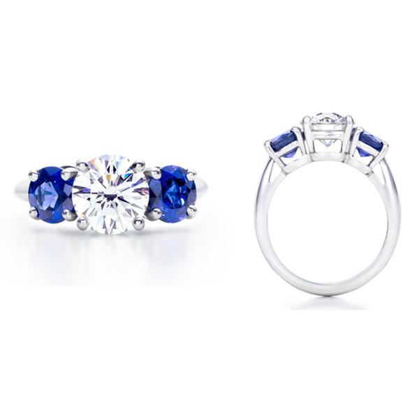 diamond and blue sapphire engagement ring