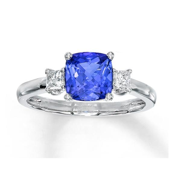 Diamond and tanzanite engagement rings