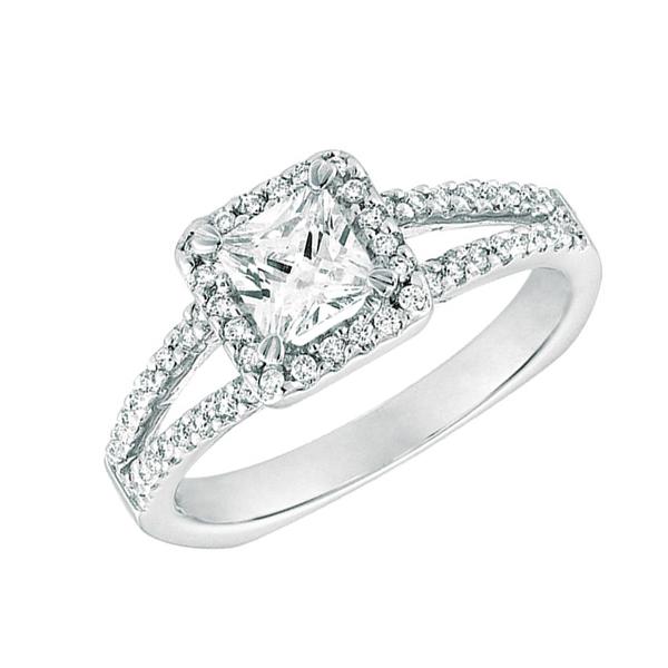 princess diamond split shank ring