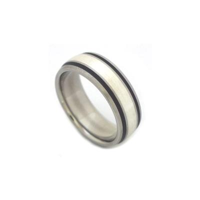 Men's black titanium wedding bands