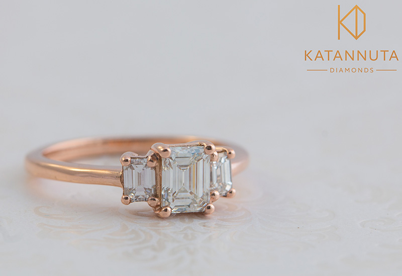 Rose gold emerald cut diamond engagement ring