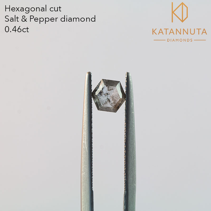 Hexagonal cut salt and pepper diamond south africa