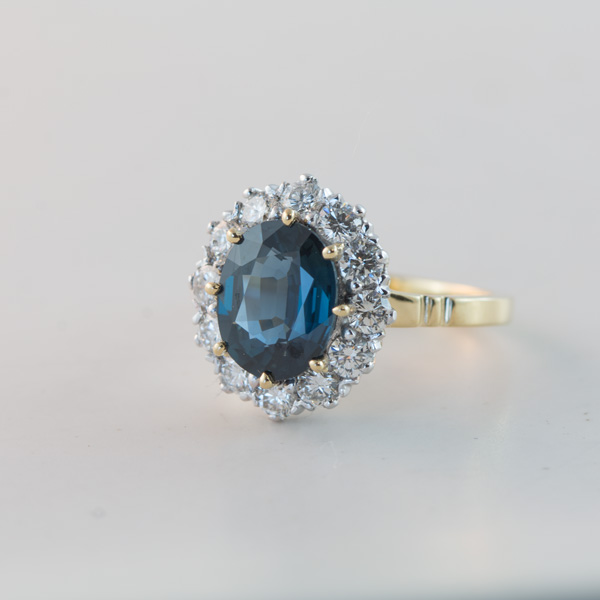 Peacock sapphire cluster ring