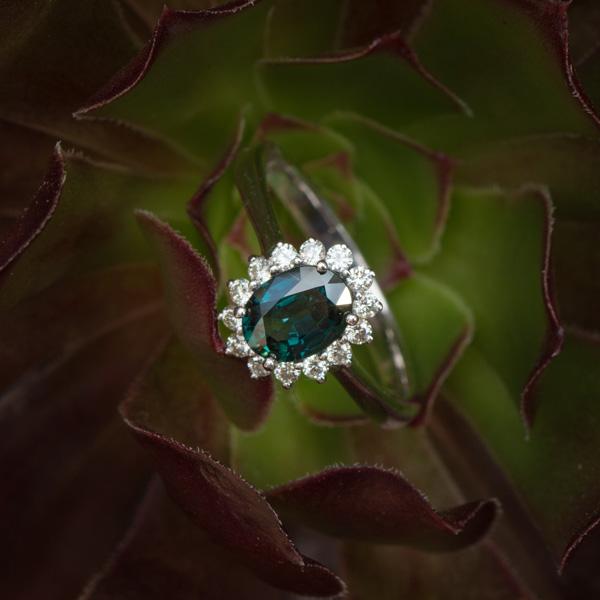 Oval peacock sapphire diamond ring Johannesburg