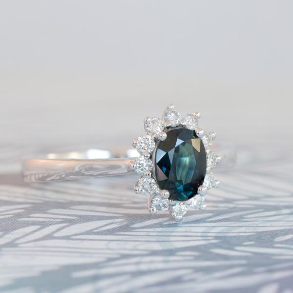 Diamond and peacock sapphire ring