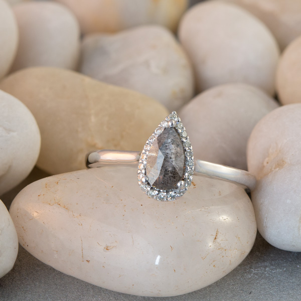 Pear cut salt and pepper diamond ring South Africa