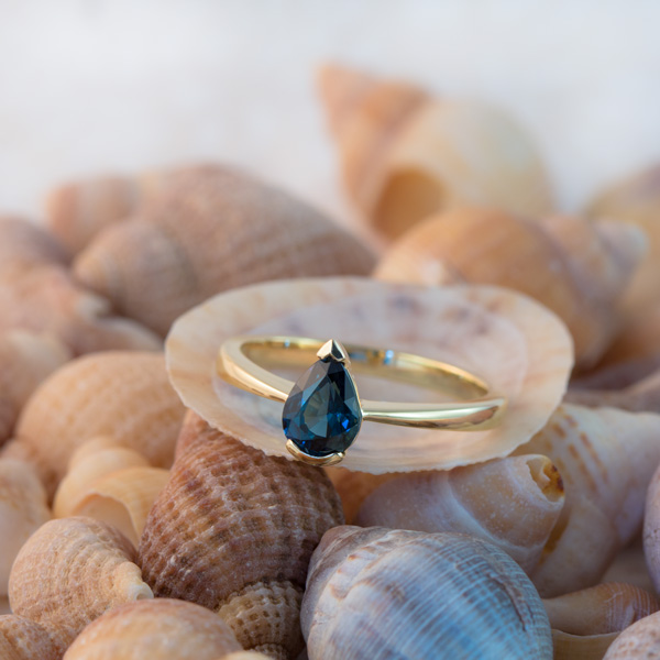 Pear cut teal sapphire ring south africa