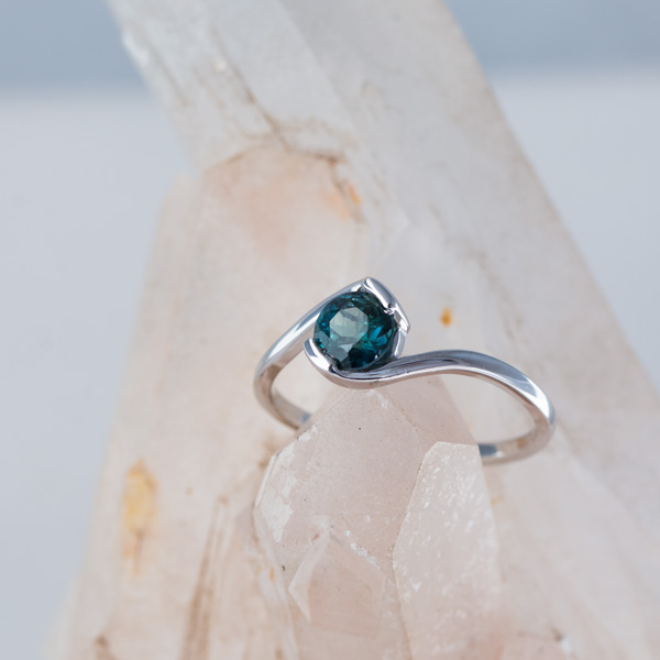 Round teal sapphire ring Johannesburg